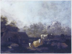 Landschap met vee bij een boerderij
