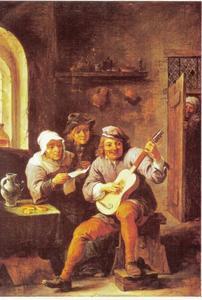 Muziek makende boeren in een interieur