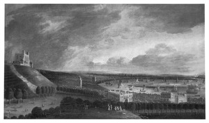 Gezicht op de Theems bij Greenwich met The Royal Observatory (links) en Queen's House, op de achtegrond de Britse vloot