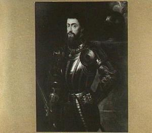 Portret van keizer Karel V in wapenuitrusting en zwaard in de hand