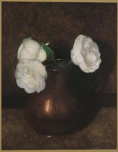 Koperen kannetje met rozen