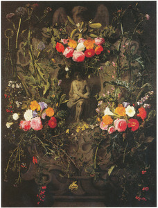 Cartouche met bloemguirlandes rondom een voorstelling van Christus op de koude steen