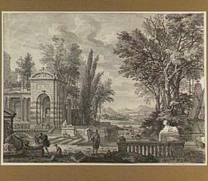 Parklandschap met fontein, beelden en figuren