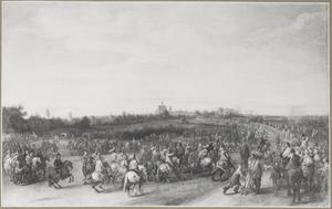 Landschap met de intocht van aartshertog Leopold Wilhelm in een stad