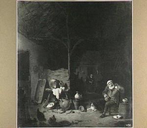 Interieur van een stal met boer die het glas heft en in de achtergrond een pannen schurende vrouw