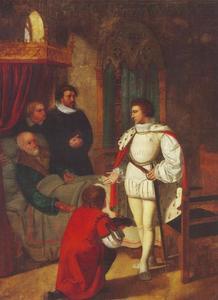 De stervende kanselier Niels Kaas overhandigt de jonge Christian IV de sleutels van de schatkamer (1594)