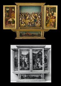 De heilige Otto(?) (links), de heilige Rochus (rechts); Joachim verdreven uit de tempel, de verkondiging aan Joachim, en de ontmoeting bij de Gouden Poort (binnenzijde links), Maria en kind met de heilige Anna en de Heilige Maagschap (middenpaneel), de geboorte van Maria en presentatie in de tempel (binnenzijde rechts); De visitatie (buitenzijde links), de geboorte van Maria (buitenzijde rechts); Boom van Isaï met knielende bisschop (predella)