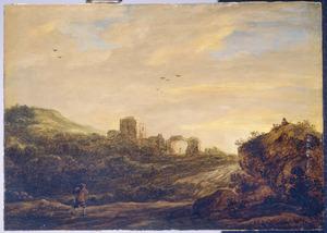 Duinlandschap met de ruïne van een vesting