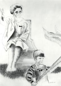 Portret van koningin Juliana (1909-2004) en een jongen, mogelijk prins Maurits (1968-)