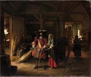 Officier en een jonge vrouw met een muntstuk in een stal