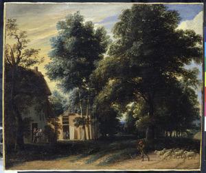 Landschap met fluitspelende herder op een weg langs een boerderij