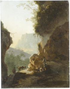 Berglandschap met rustende rherders bij een rotswand