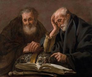 De filosofen Heraclitus en Democritus