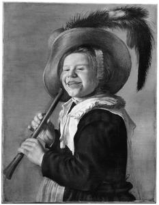 Lachend kind met een fluit