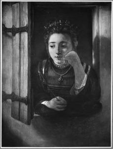 Meisje dat uit het raam kijkt