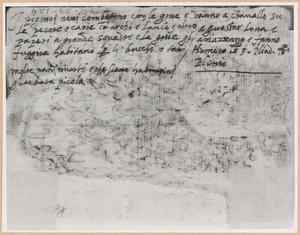 Schetsboekblad met notitie van Stradanus betreffende 'Pygmeeën vechten tegen kraanvogels'
