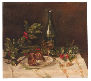 Stilleven met kerstmispudding, hulst en wijn
