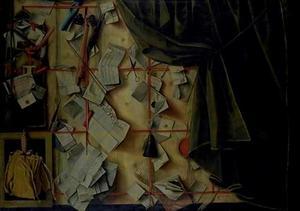 Trompe l'oeil van brievenbord met proclamatie van de Deense koning Frederik III