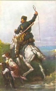 Jager te paard met twee barzois