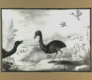 Heuvellandschap met vogels in en bij een rivier