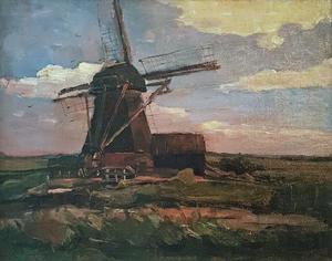 Oostzijdse mill, horizontal oil sketch with blue sky
