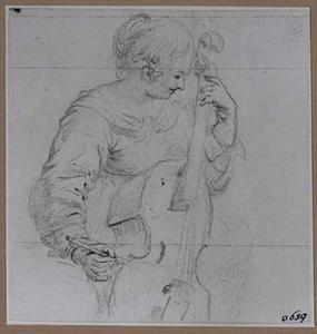 Viola da gambaspelende jonge vrouw