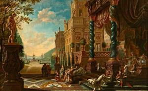 Gefantaseerd paleis met Esther knielend voor Ahasverus (Esther 5:2)