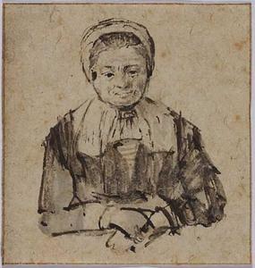 Oude vrouw met gevouwen handen