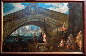 Havengezicht met blik op de Rialto brug in Venetië