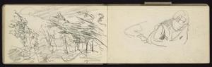 Schetsen van bomen en van een zittende figuur aan tafel