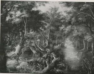 Boslandschap met een vervallen kapel