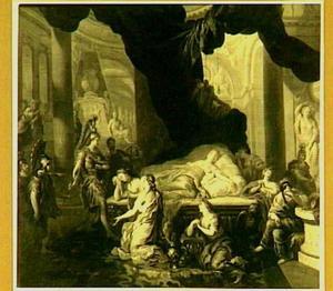 Augustus/Gaius Octavius voor de dode Cleopatra