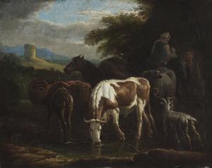 Reizigers, lastdieren en vee bij een drenkplaats