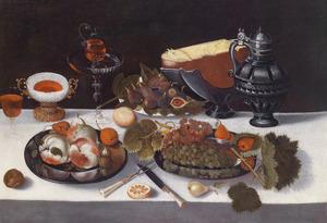 Stilleven met fruit en kaas