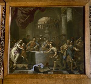 Dido omhelst Ascanius / Cupido tijdens het gastmaal (Aeneis I, 709-723)