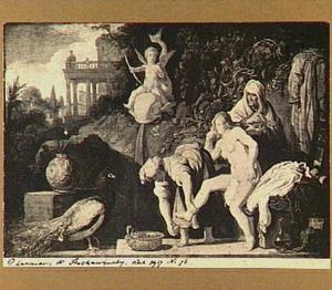 David ziet het toilet van Batseba vanuit zijn paleis  (2 Samuel 11: 1-2)