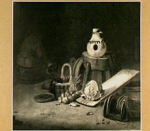 Boerderijstilleven met links een zittende man