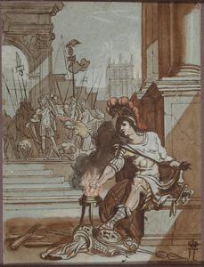 Mucius Scaevola steekt zijn arm in het vuur voor Porsenna (Livius 2:12-13)