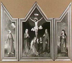 De kruisiging, geflankeerd door heiligen op de zijluiken, links de H. Franciscus tijdens de stigmatisatie, rechts de H. Clara