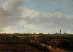 Uitgestrekt landschap met Den Haag gezien vanuit het noordwesten