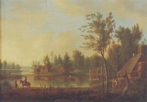 Een lansdschap met een groot meer, gebouwen en figuren