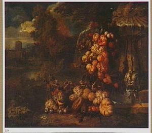 Festoen van vruchten bij een gebeeldhouwd fontein in een tuin