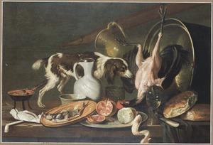 Stilleven van etenswaren en vaatwerk op een tafel, met een hond