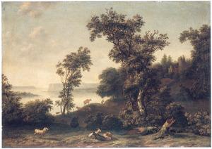 Landschap met geitenhoeder aan de rand van een meer, op de achtergrond een vervallen kerk