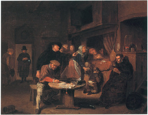 Interieur met oude man op sterfbed en geestelijke die een notaris een muntstuk toestopt