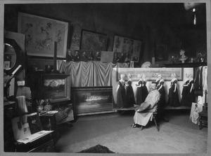 Nicolaas van der Waay in zijn atelier, Academie, Amsterdam