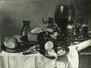 Stilleven met roemer en aangesneden pastei, geschilde citroen en brood