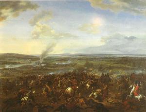 De (tweede) slag bij  Höchstädt nabij Blenheim nabij de Donau, 13 Augustus 1704: overwinning van Eugenius van Savoie en de hertog van Marlborough over de Frans-Beierse troepen onder keurvorst Max Emanuel en maarschalk Tallard