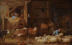 Interieur van een boerderij met een boer en zijn vee en drinkende figuren in de achtergrond