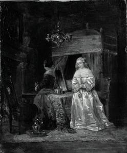Een interieur met een jonge vrouw en haar dienstmeisje